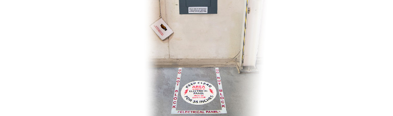 Electrical Panel Clearance Tape & Floor Sign Kit