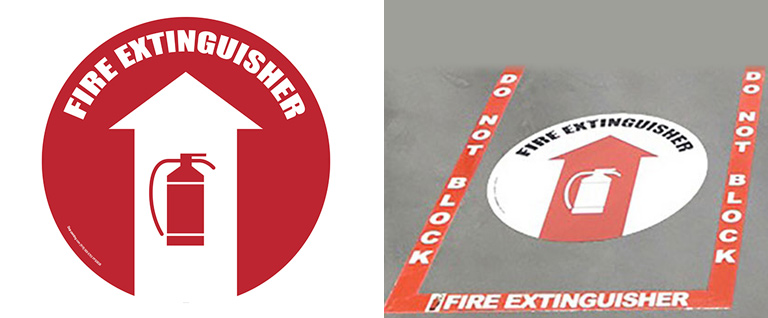 Fire Extinguisher Floor Signs & Fire Extinguisher Floor-Marking Kit (available at Stop-Painting.com)