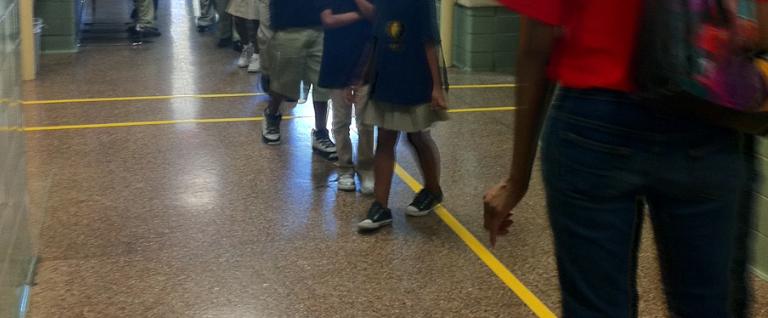 Floor markings can help calm school hallways and encourage traffic to flow smoothly.