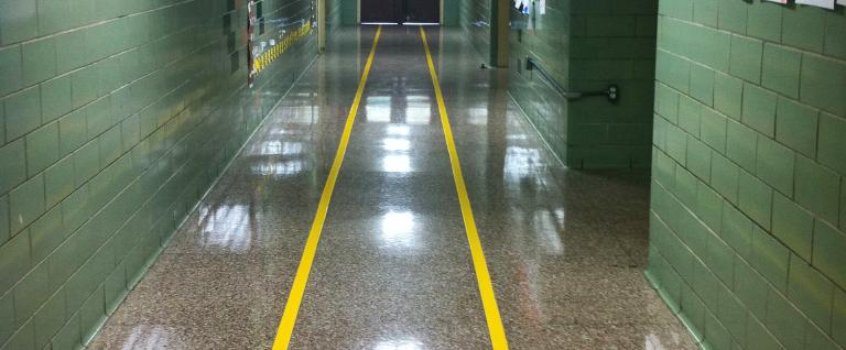 Floor markings can help tame hallways