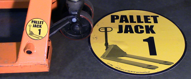 Pallet jack parking floor sign (available at Stop-Painting.com)