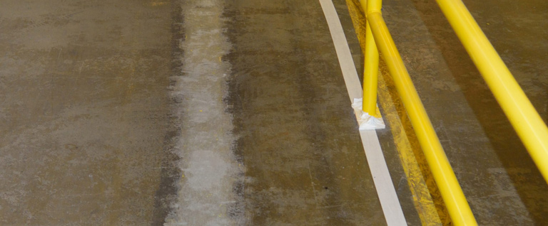 Safety Lines From A Concrete Floor