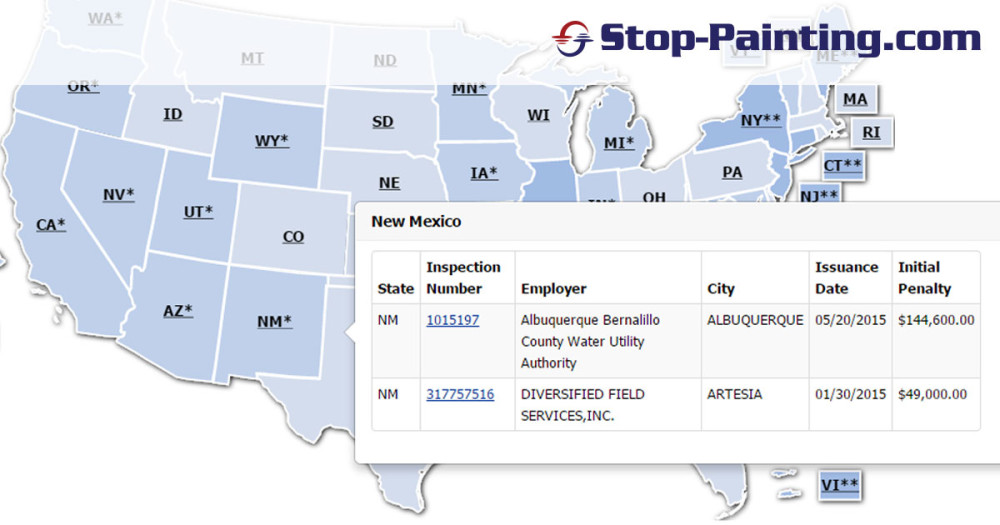 Interactive Map Shows OSHA Top Fines By State