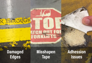 Examples of types of floor tape damage