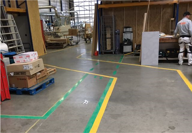 Floor tape markings for traveled areas