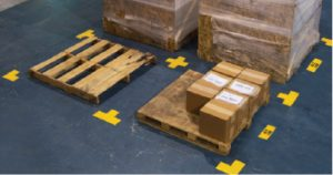 Pallet floor markers improve organization for a safer workspace