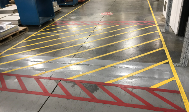 Floor marking tape can create lines in a variety of colors for helpful visual cues