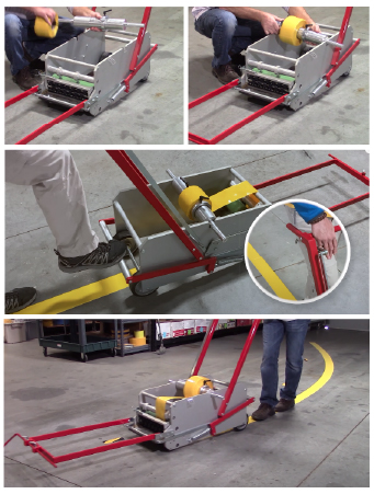 Creating curved tape lines is easy with the Superior Marker floor tape applicator cart