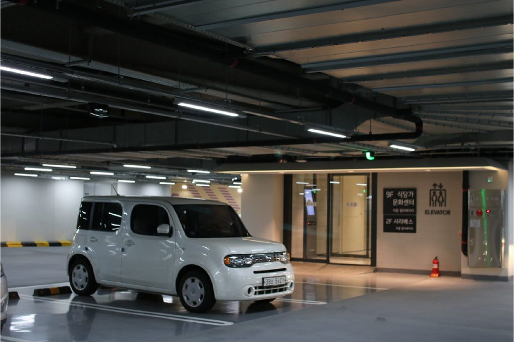 Parking area floor markings in a garage